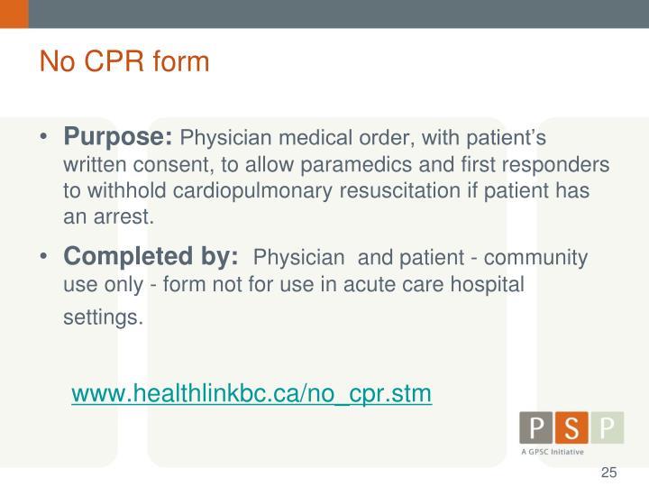 No CPR form
