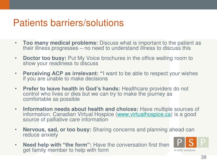 Patients barriers/solutions