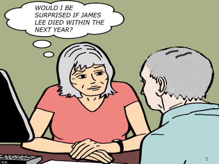 WOULD I BE SURPRISED IF JAMES LEE DIED WITHIN THE NEXT YEAR?