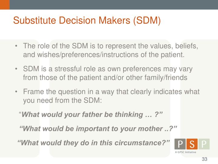Substitute Decision Makers (SDM)