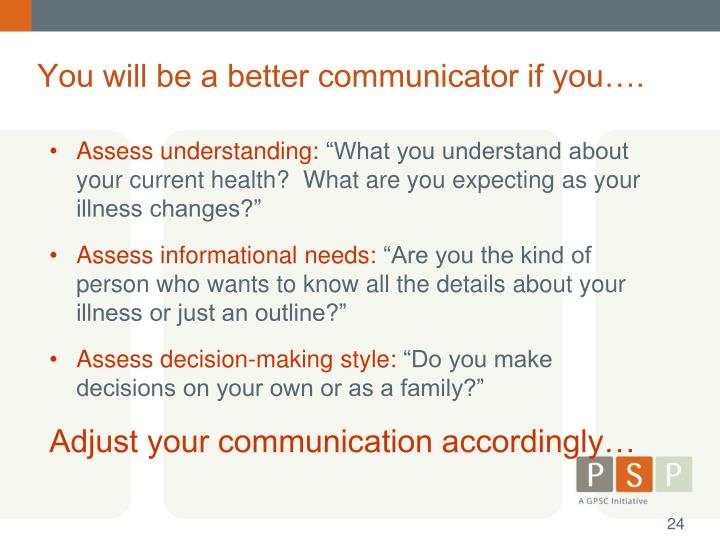 You will be a better communicator if you….