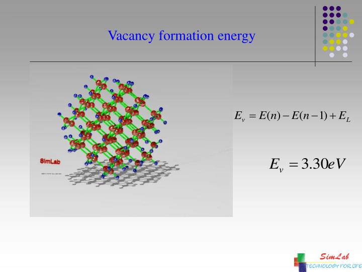 Vacancy formation energy