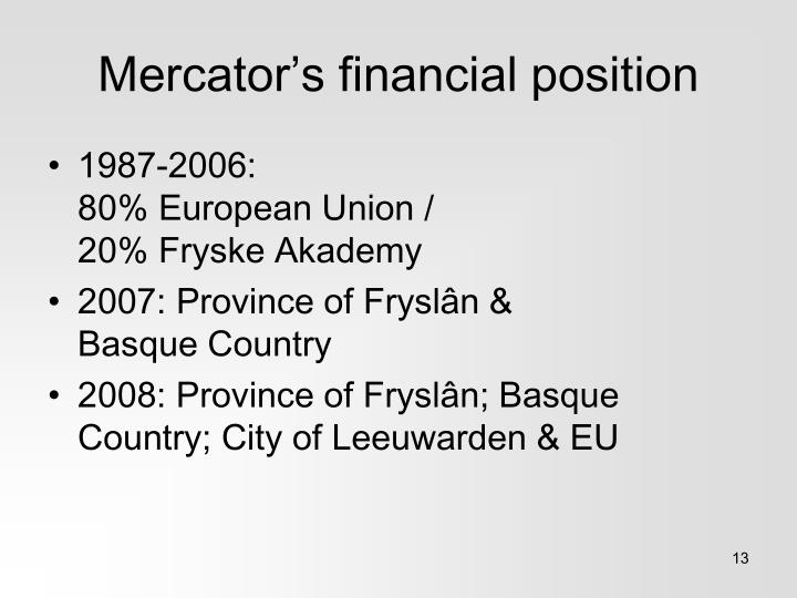 Mercator's financial position