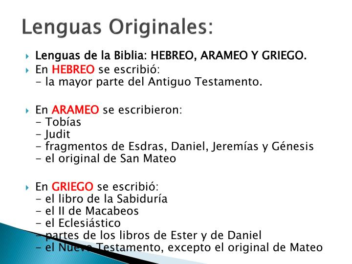 Lenguas Originales: