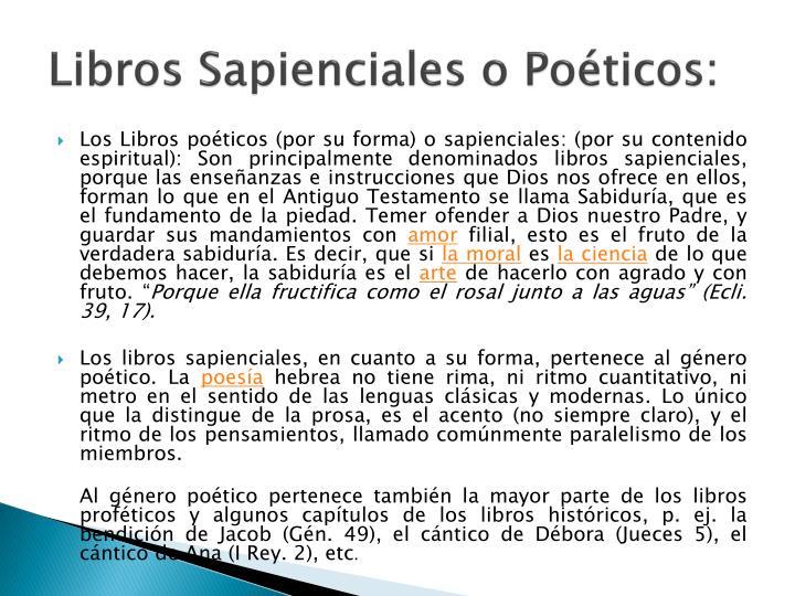 Libros Sapienciales o Poéticos: