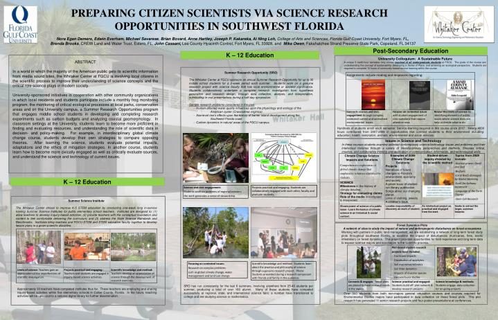 PREPARING CITIZEN SCIENTISTS VIA SCIENCE RESEARCH