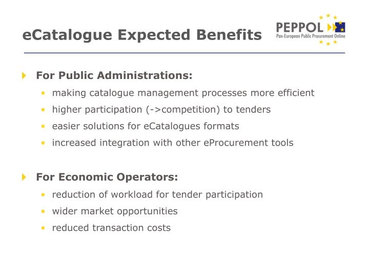 eCatalogue Expected Benefits