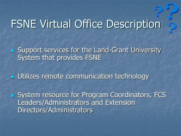 FSNE Virtual Office Description
