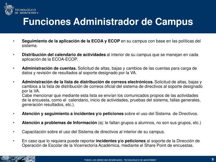 Funciones Administrador de Campus