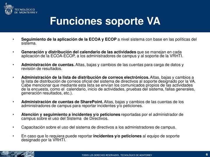 Funciones soporte VA