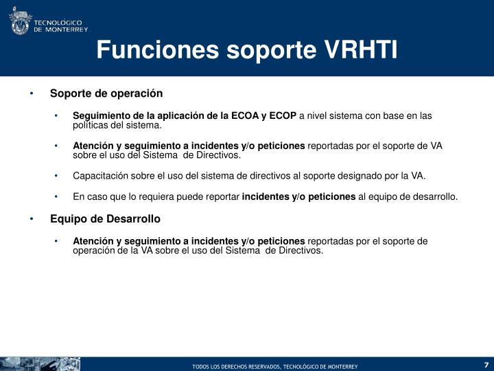 Funciones soporte VRHTI