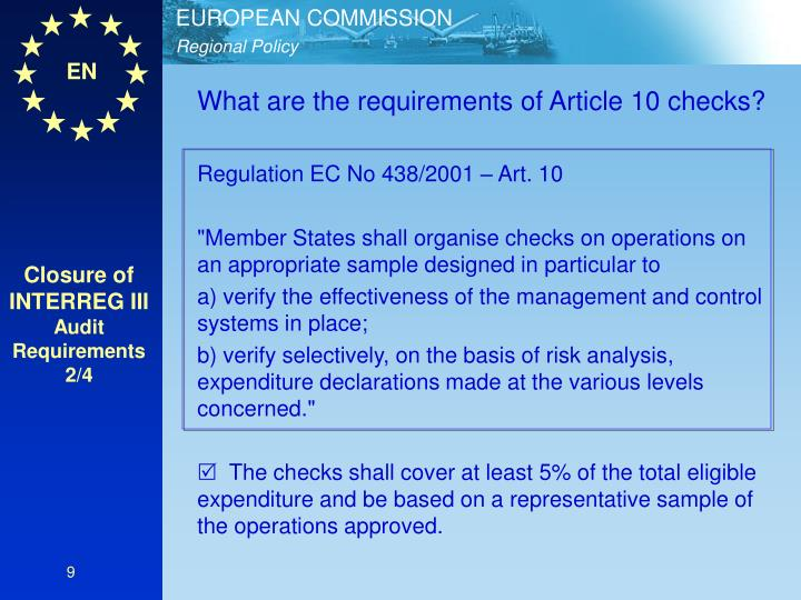 What are the requirements of Article 10 checks?