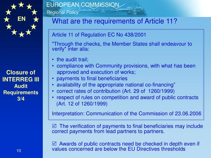 What are the requirements of Article 11?