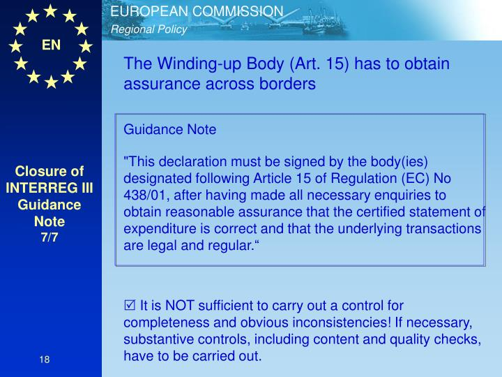 The Winding-up Body (Art. 15) has to obtain assurance across borders