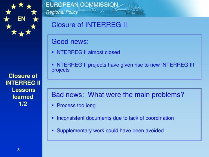 Closure of INTERREG II