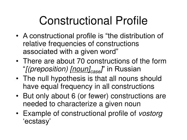 Constructional Profile