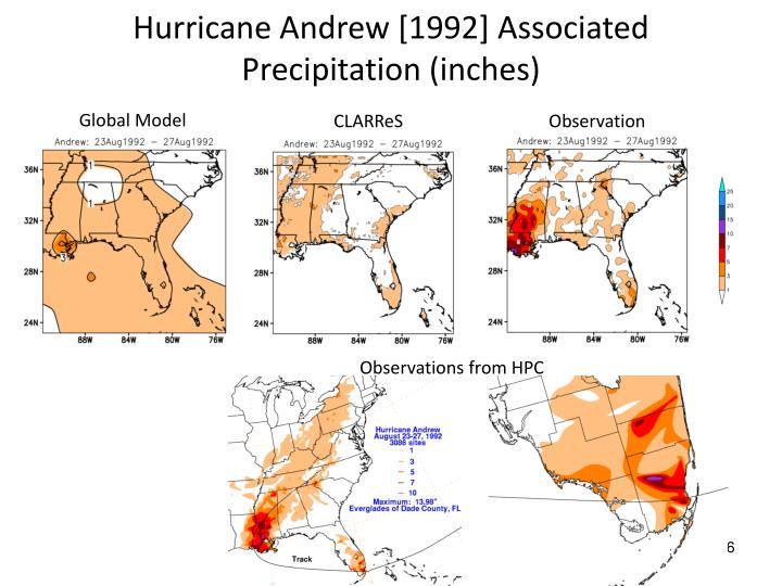 Hurricane Andrew [1992] Associated Precipitation (inches)