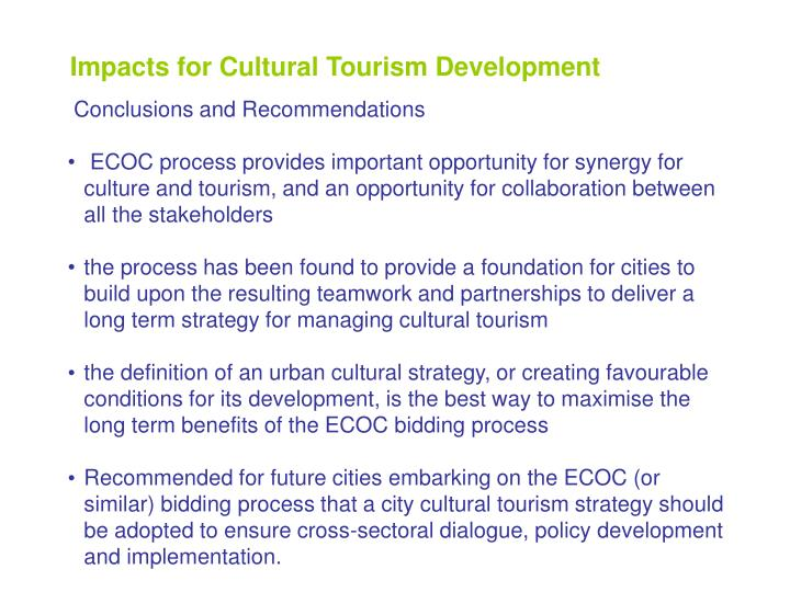 Impacts for Cultural Tourism Development