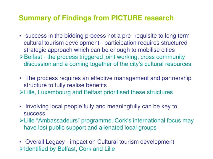 Summary of Findings from PICTURE research