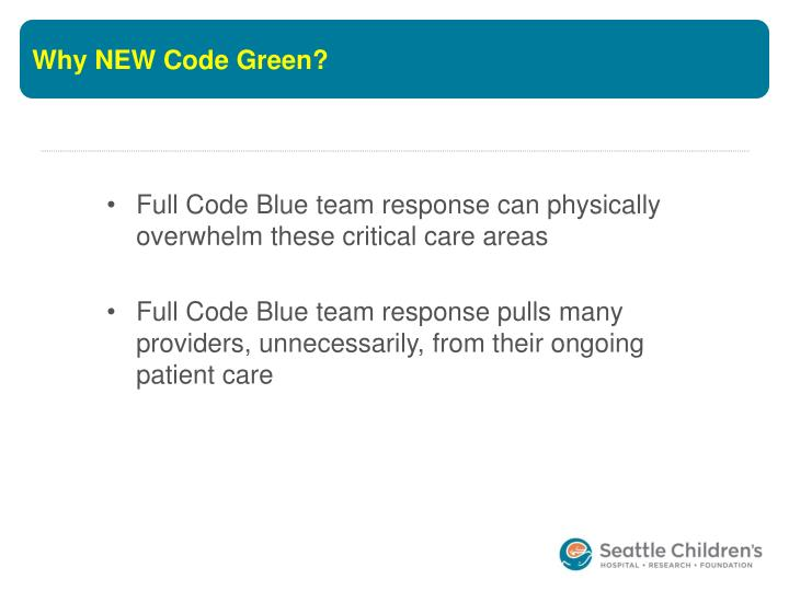 Why NEW Code Green?