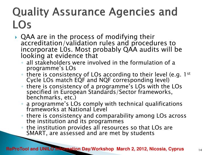 Quality Assurance Agencies and LOs