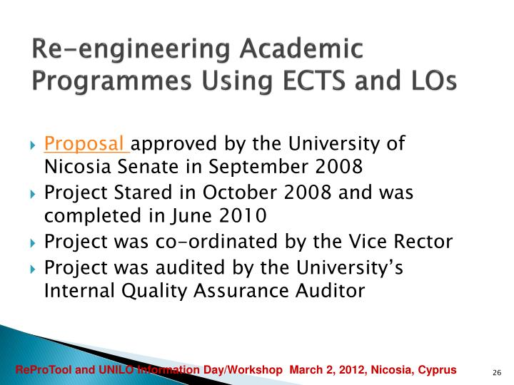 Re-engineering Academic Programmes Using ECTS and LOs