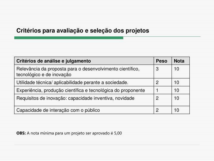 Critérios para avaliação e seleção dos projetos