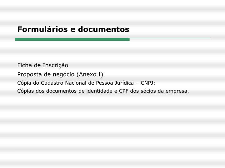 Formulários e documentos