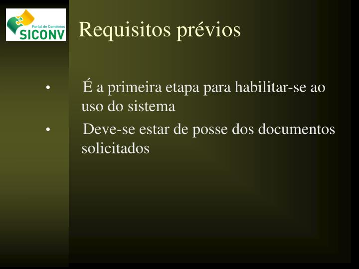 Requisitos prévios