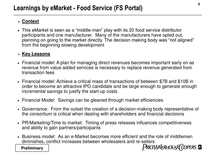 Learnings by eMarket - Food Service (FS Portal)