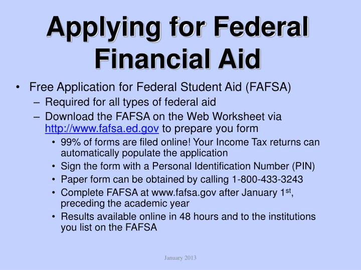 Applying for Federal Financial Aid
