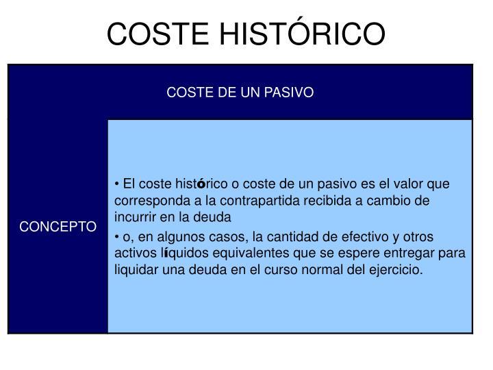 COSTE HISTÓRICO