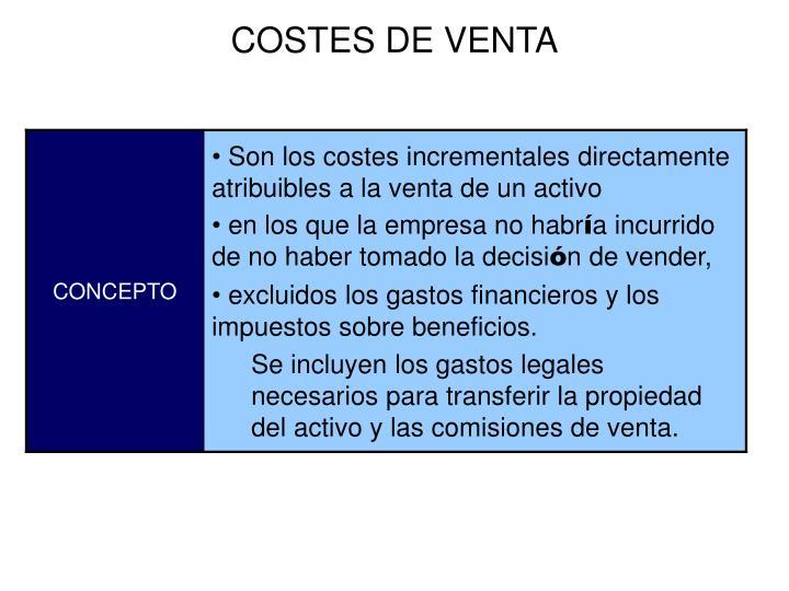 COSTES DE VENTA
