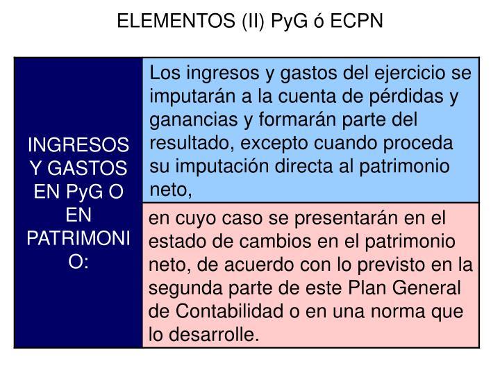 ELEMENTOS (II) PyG ó ECPN
