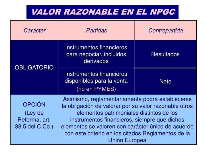 VALOR RAZONABLE EN EL NPGC