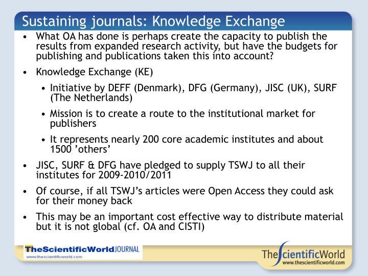 Sustaining journals: Knowledge Exchange