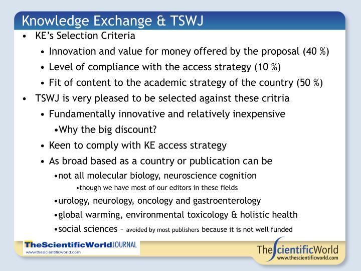 Knowledge Exchange & TSWJ