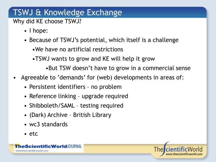 TSWJ & Knowledge Exchange