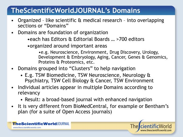TheScientificWorldJOURNAL's Domains