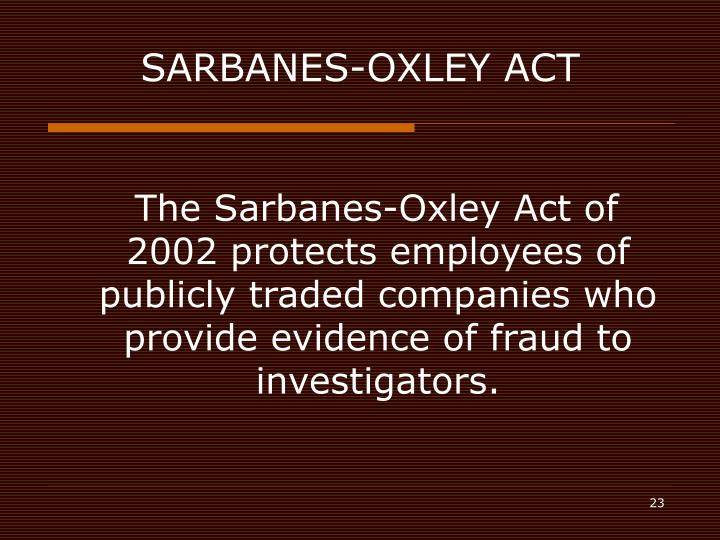 sarbanes oxley act essay The sarbanes oxley act of 2002 essay  the sarbanes oxley act of 2002 was signed into law after a series of corporate financial scandals affected companies such as enron, worldcom, and arthur anderson - the sarbanes oxley act of 2002 essay introduction.