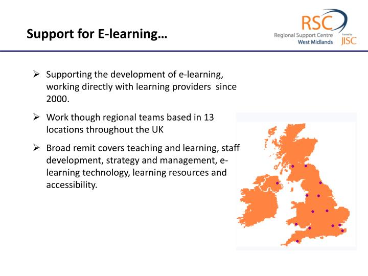 Support for E-learning…