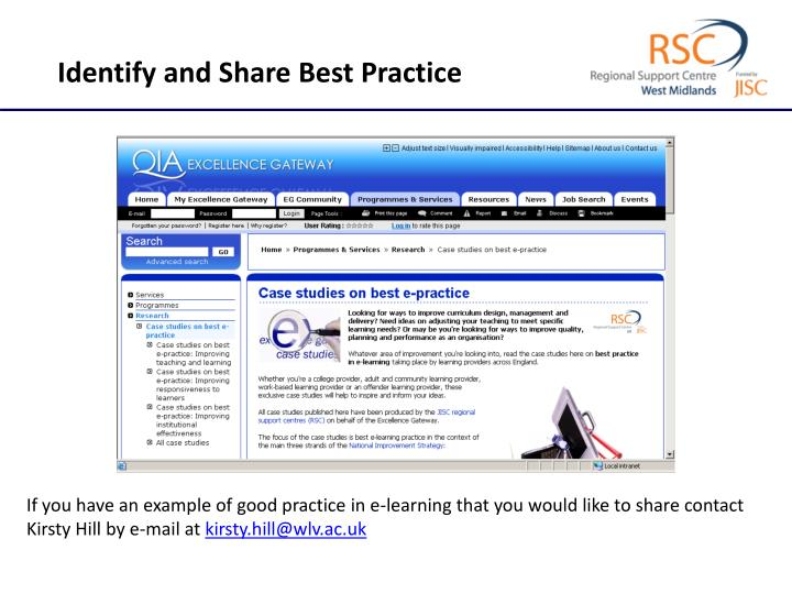 Identify and Share Best Practice