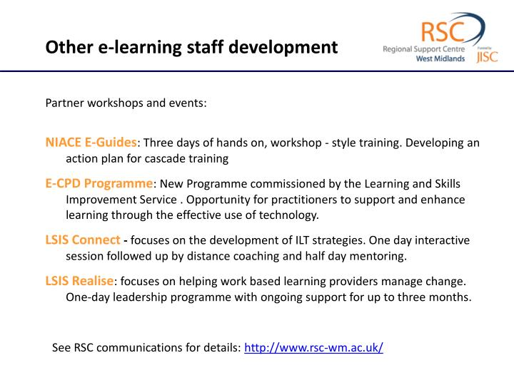 Other e-learning staff development