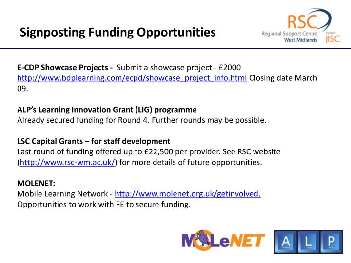 Signposting Funding Opportunities