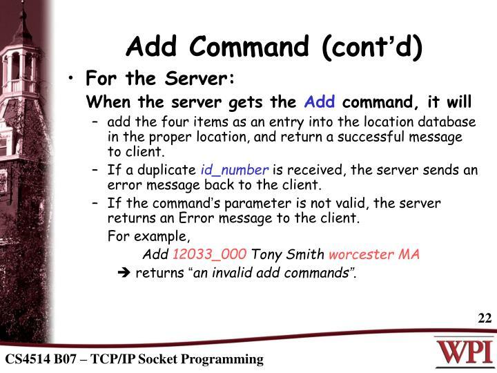Add Command (cont