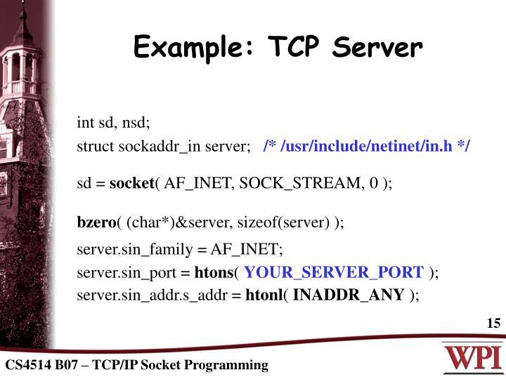 Example: TCP Server