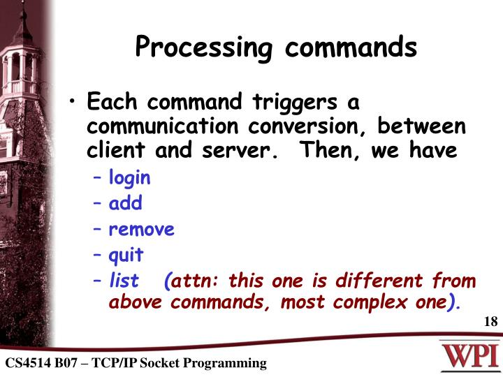 Processing commands