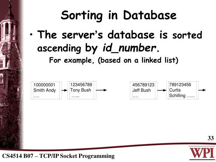 Sorting in Database