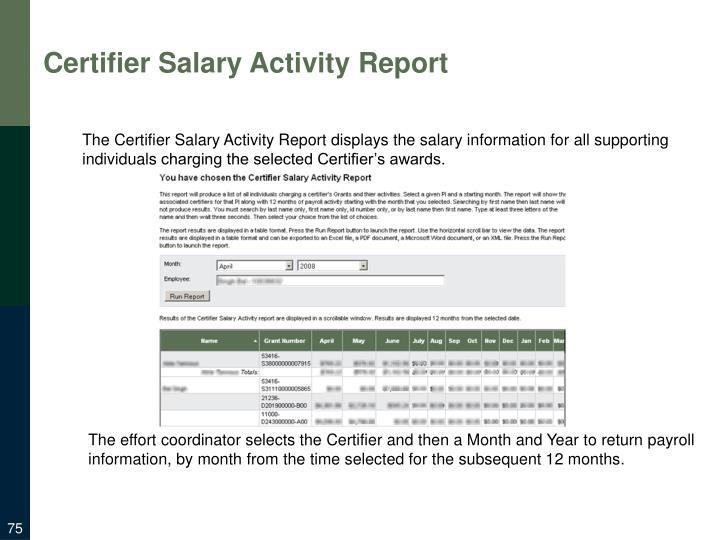 Certifier Salary Activity Report