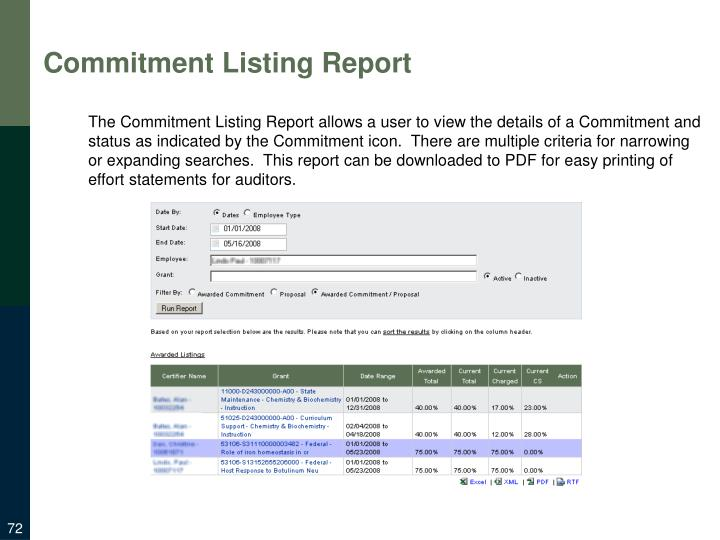 Commitment Listing Report